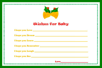 baby shower wish card