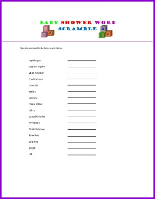 photograph about Free Printable Baby Shower Games Word Scramble named Free of charge Printable Boy or girl Shower Online games