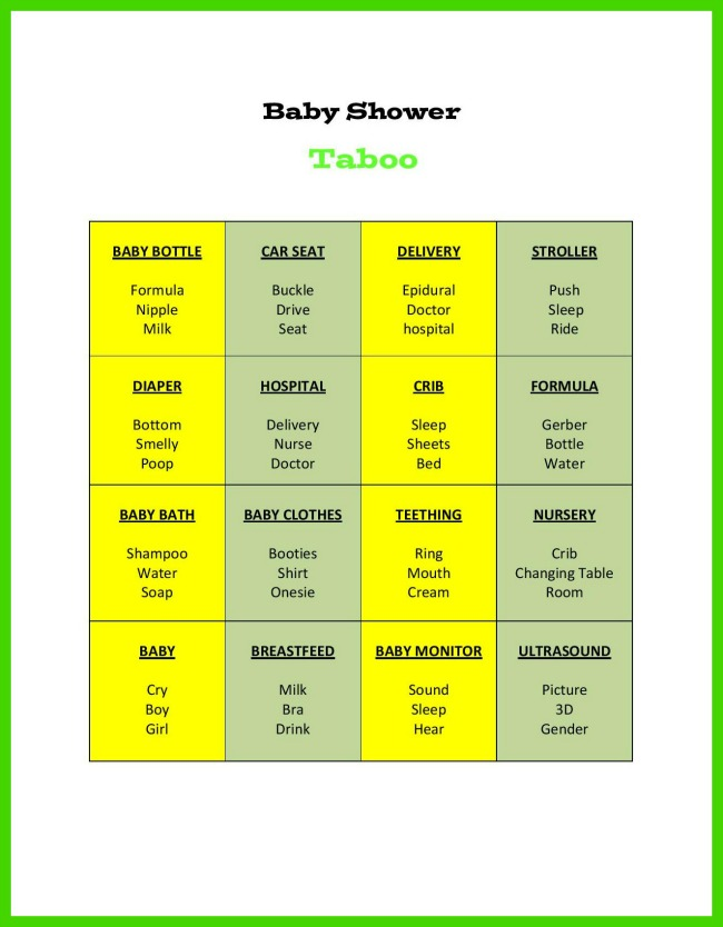 Baby shower taboo game for Food bar games free online