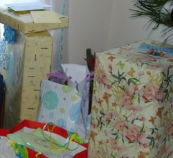 stack of baby shower gifts