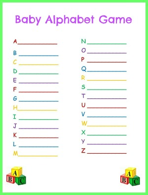 graphic relating to Alphabet Games Printable named Kid Alphabet Match for Youngster Shower