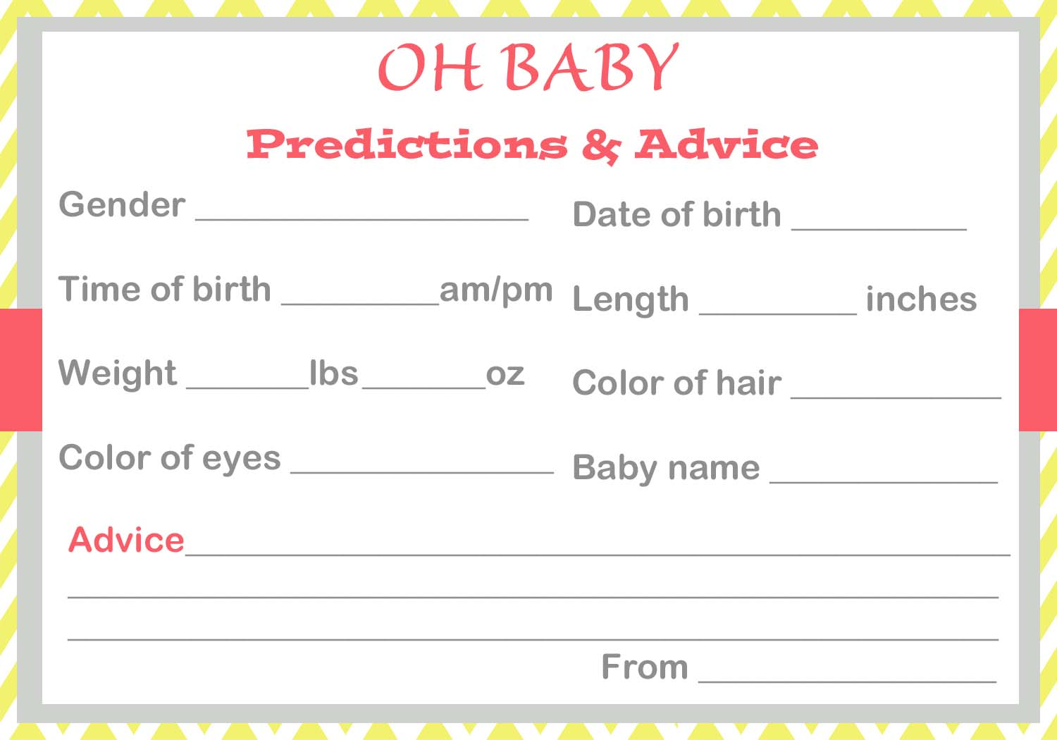 Baby shower ice breaker games baby shower prediction cards negle Image collections