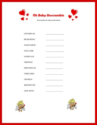 valentines baby shower game