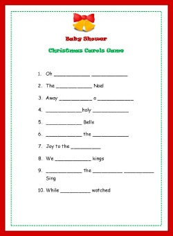 christmas baby shower song game