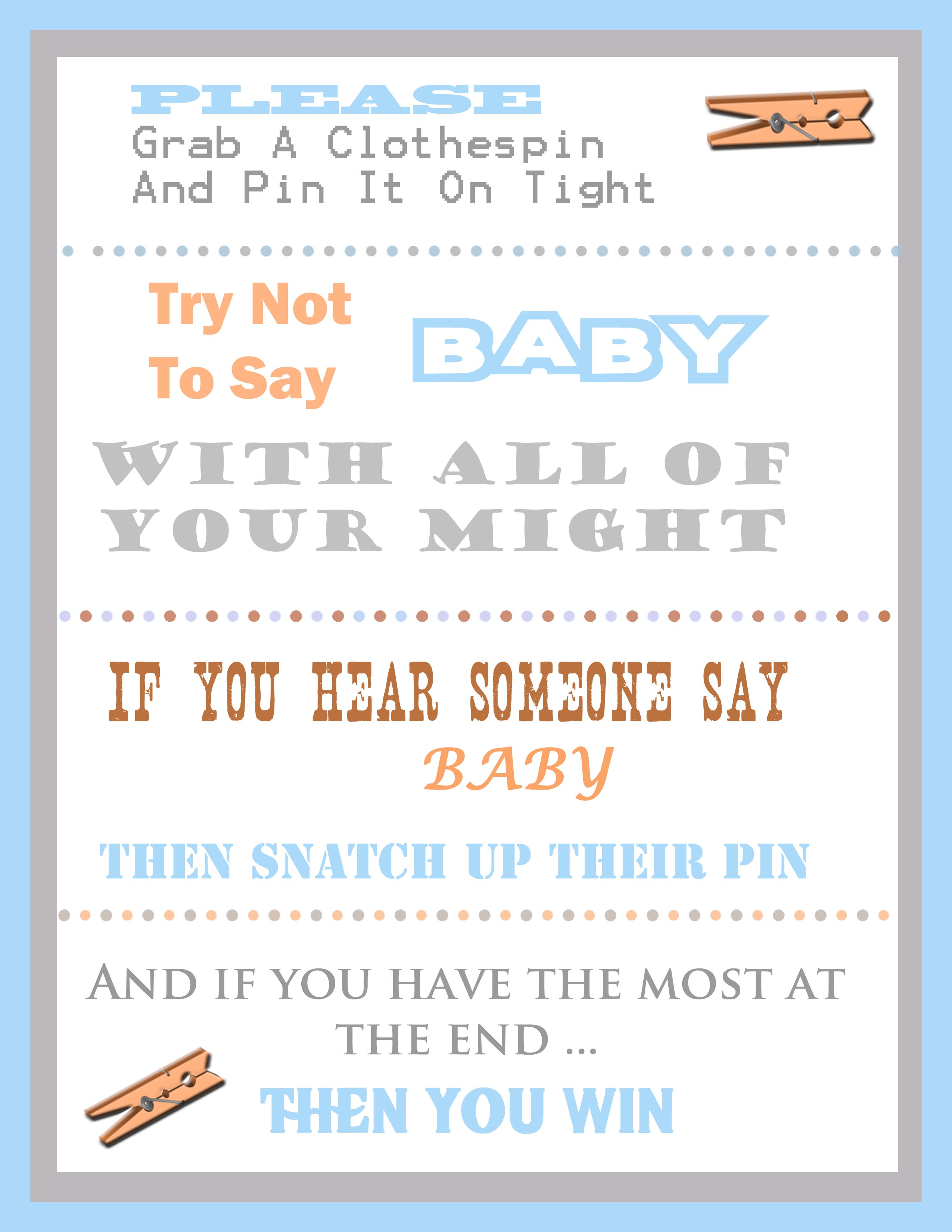 free clothespin baby shower game
