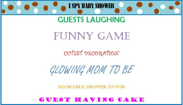 I spy baby shower game
