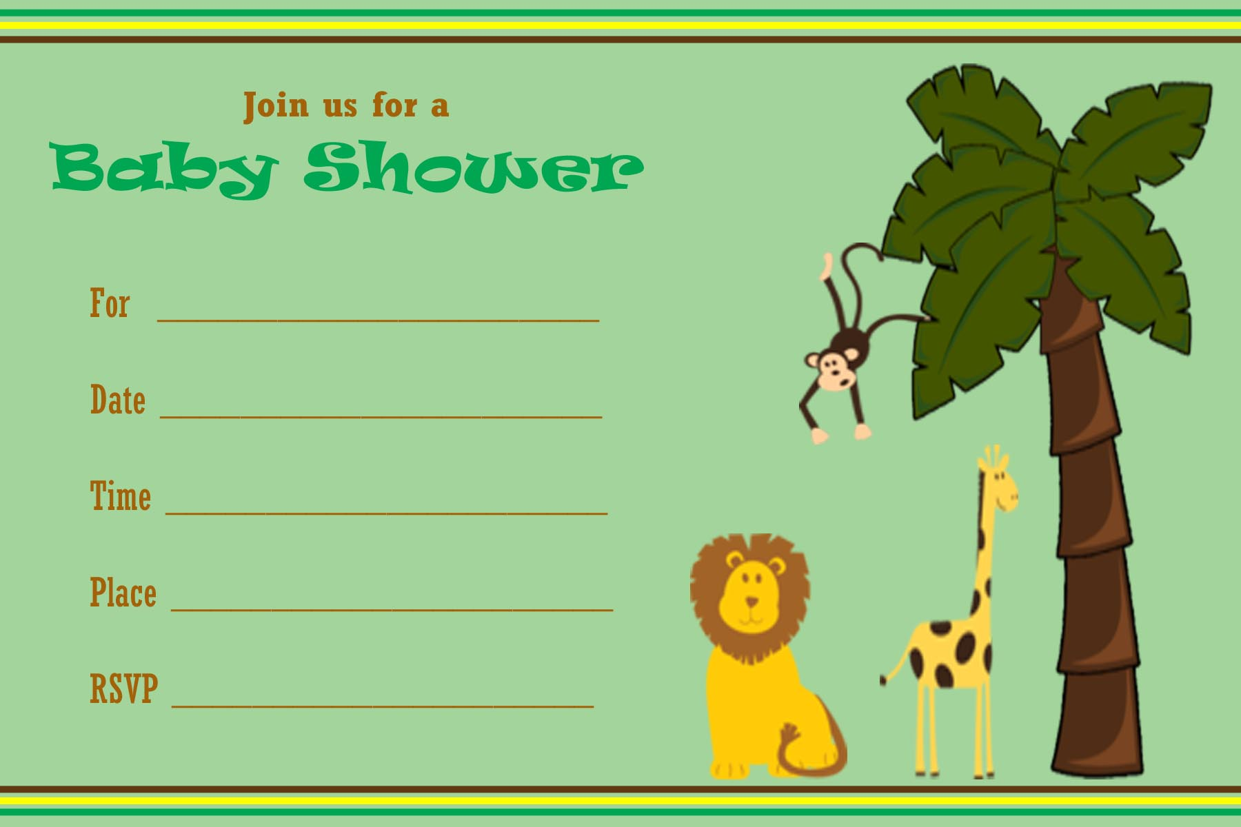 Free Printable Safari Baby Shower Invitations – gangcraft.net