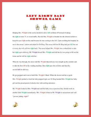 graphic about Free Printable Left Right Birthday Game named No cost Printable Kid Shower Video games