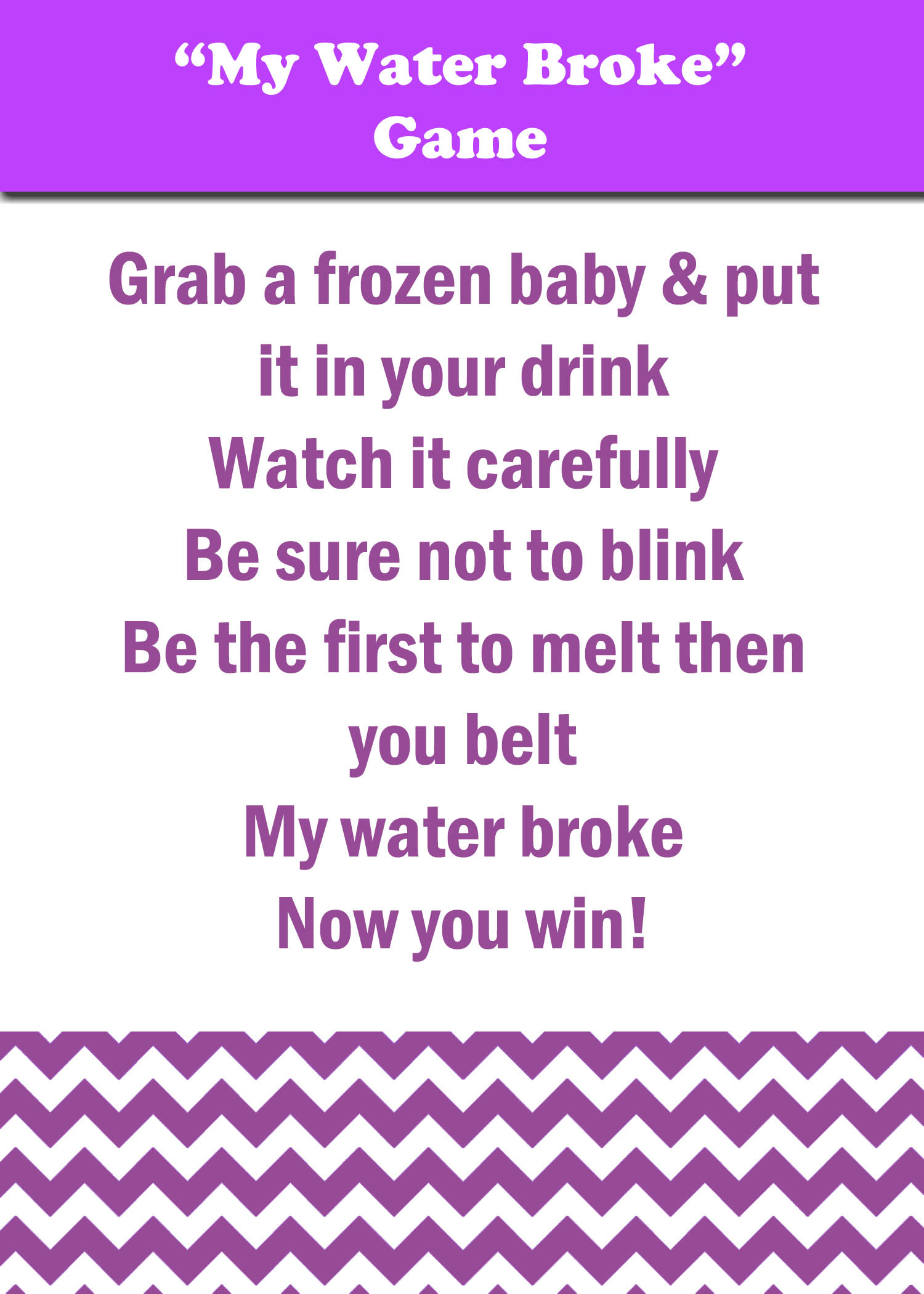 my water broke baby shower game