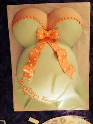 seafoam green and coral baby shower cake