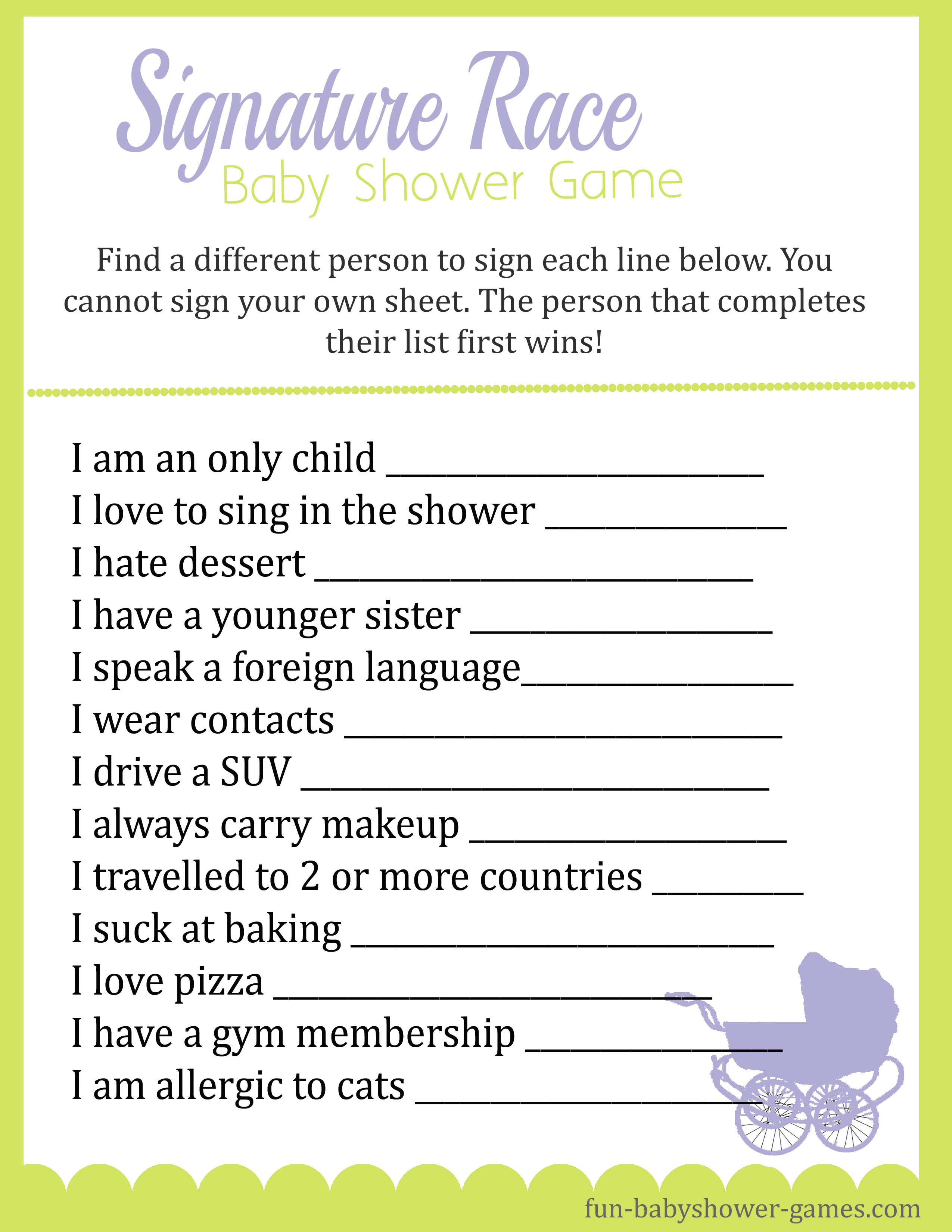 photo regarding Baby Shower Sign in Sheet Printable identify Youngster Shower Signature Race Recreation
