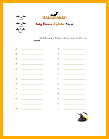 free printable halloween baby shower game